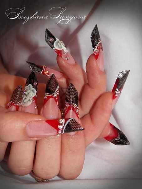 модный дизайн ногтей от чемпионов скошенные design of extension of long nails