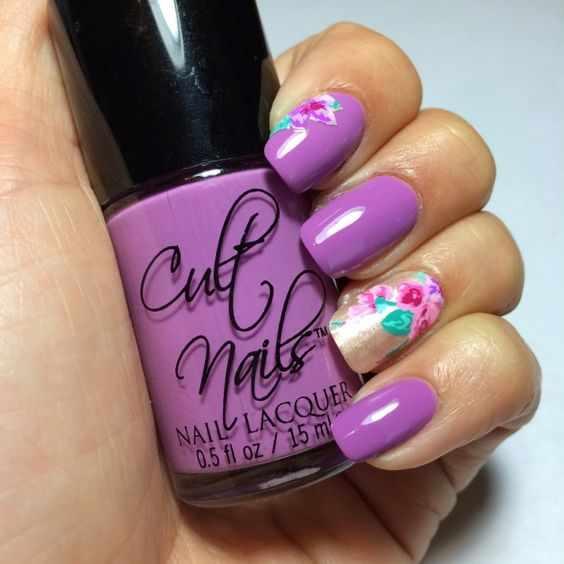 лиловый цвет маникюр
