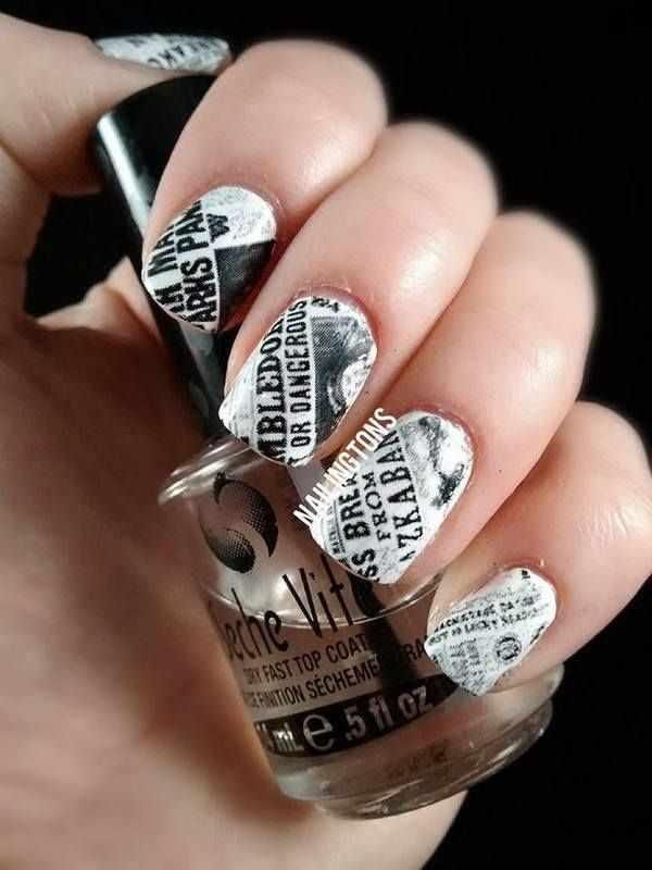 газетный дизайн ногтей чёрно белая газета с фото Newspaper nail design