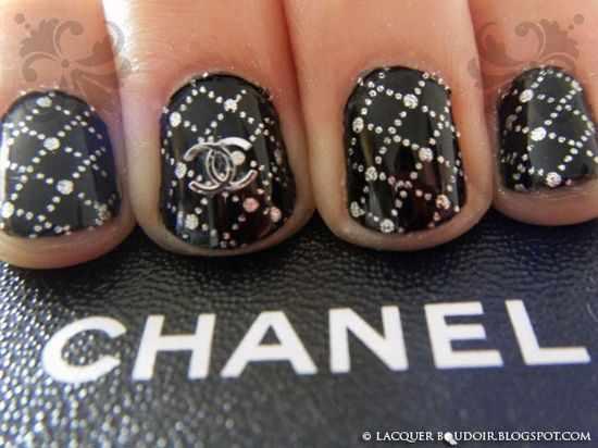 дизайн ногтей шанель стразы chanel