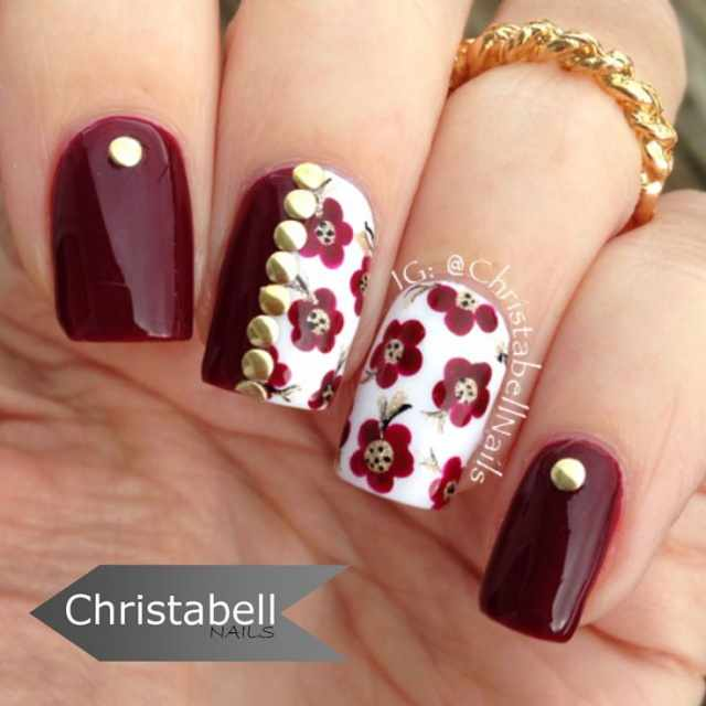 beautiful red manicure white оригинальный красно белый маникюр приплюснутые бульонки