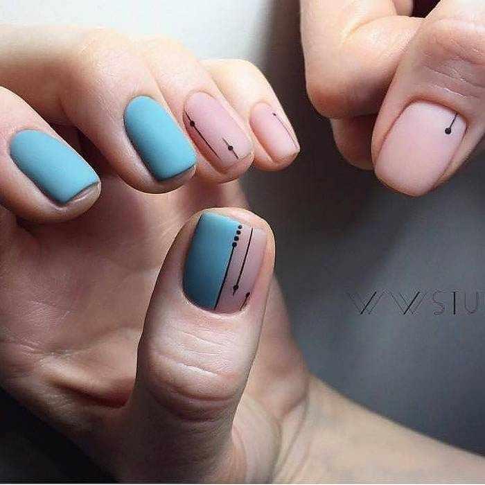 Матовый дизайн на короткие ногти