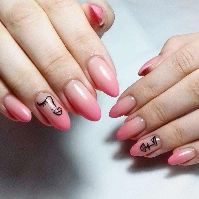 Рисунки на омбре ногтях