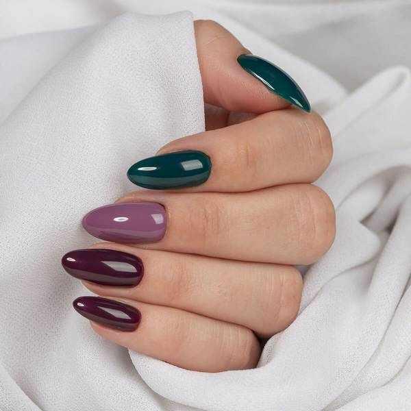 Осенний маникюр на длинных ногтях