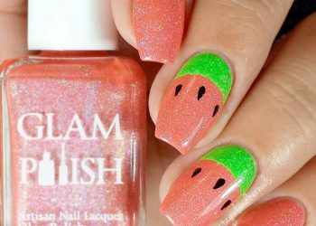 JamAdvice_com_ua_Fruits-and-sweets-totally-hip-summer-nail-designs-coral-polish-base-watermelon-accent