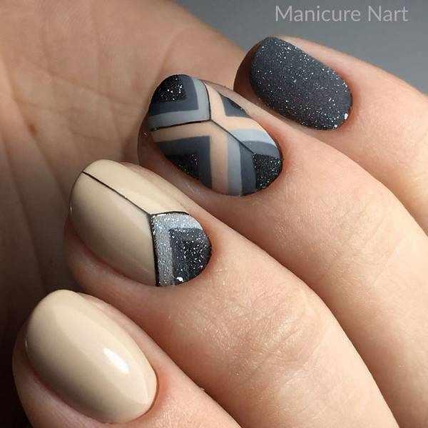 Геометрический осенний дизайн ногтей 2020-2021