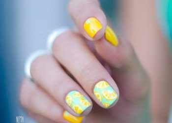 JamAdvice_com_ua_Fruits-and-sweets-nail-designs-for-summer-yellow-aqua-citrus-square-short-tropical
