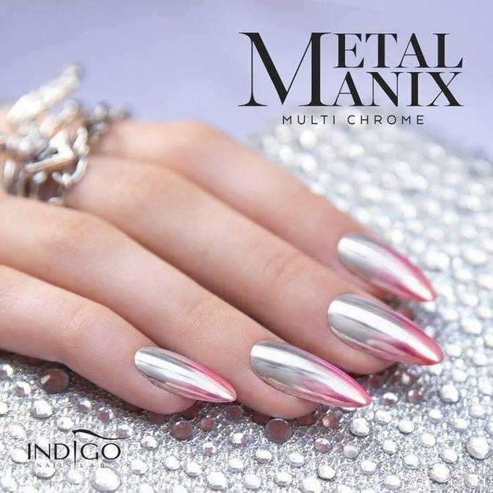 Омбре металлик на ногтях