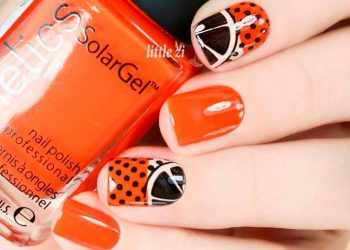 JamAdvice_com_ua_Fruits-and-sweets-nail-designs-for-summer-orange-black-citrus-polka-square-short-tropical