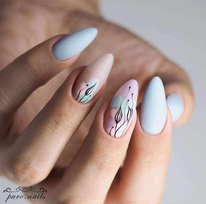 Маникюр матовый для миндальной формы ногтей